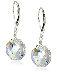 Sterling Silver Swarovski Elements Crystal Aurora Borealis Octagon Earrings