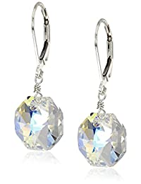 Sterling Silver Swarovski Elements Crystal Aurora Borealis Octagon Earrings
