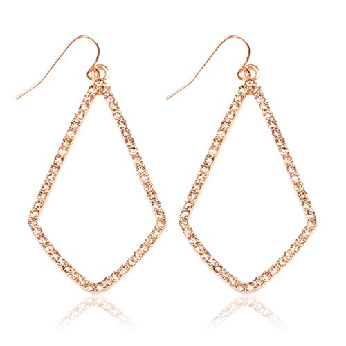 Sparkly Cubic Rhinestone Geometric Lightweight Open Hoop Earrings - Cut-Out Drop Dangles Scalloped, Moroccan Floral, Quatrefoil Clover, Kite (Kite - Rose Gold Peach) ()