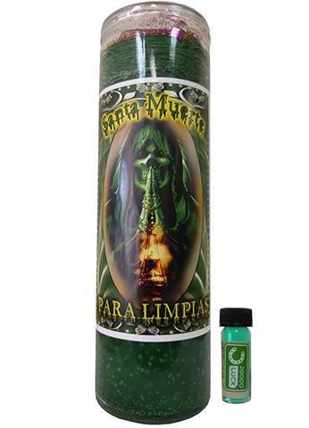 Victoria Rey Holy Death Cleansing Dressed Scented Candle - Veladora Preparada Santa Muerte Limpias