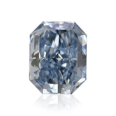 0.56Cts Fancy Intense Blue Loose Diamond Natural Color Radiant Cut GIA Certified