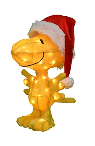 ProductWorks 24-Inch Pre-Lit 3D Woodstock in Santa Hat Christmas Yard Decoration, 35 ()