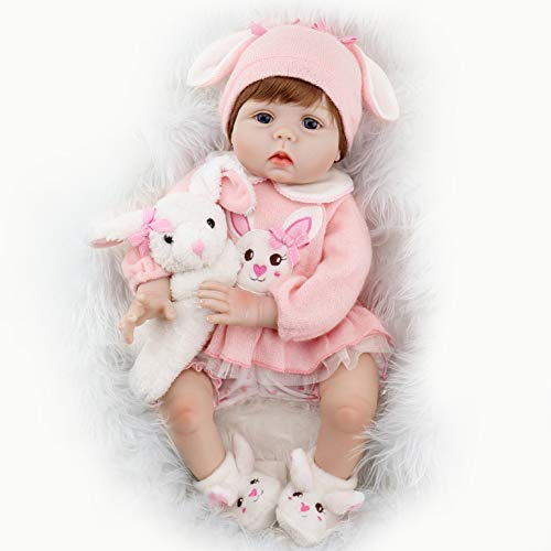 Aori Reborn Baby Doll Lifelike Weighted Girl Doll 22 Inch with Bunny Set Safety for Age 3