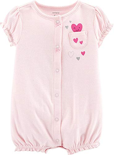 Carter's Baby Girls Happy Heart Romper 18 Months Pink/White
