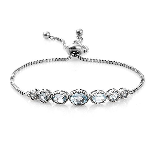 Shop LC Sky Blue Topaz Platinum Bond Brass Bolo Tennis Bracelet For Women 2.4 cttw Size (Topaz Multi Strand Bracelet)