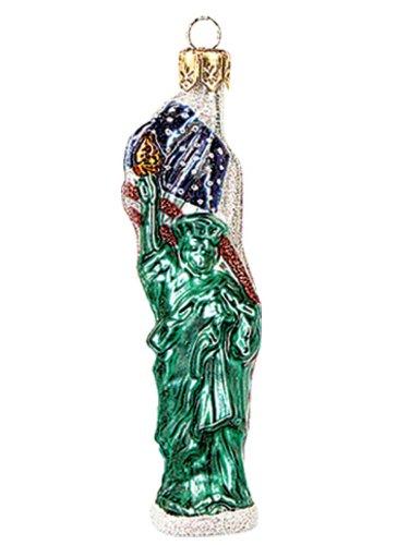 Pinnacle Peak Trading Company Miniature Statue of Liberty Polish Glass Christmas Ornament York Decoration ()