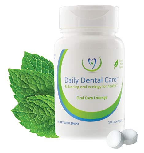 Daily Dental Care Lozenges, 90 Count – Prebiotic Mints Boosts Good Bacteria, Whole Mouth Health and Oral Hygiene – Bad Breath Treatment and Dry Mouth Relief for all the Family – Fresh Mint