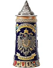 HAUCOZE Beer Stein Mug German Coats of Arms Drinking Tankard with Petwer Lid for Birthday Gifts Men Father Husband 0.6 Liter