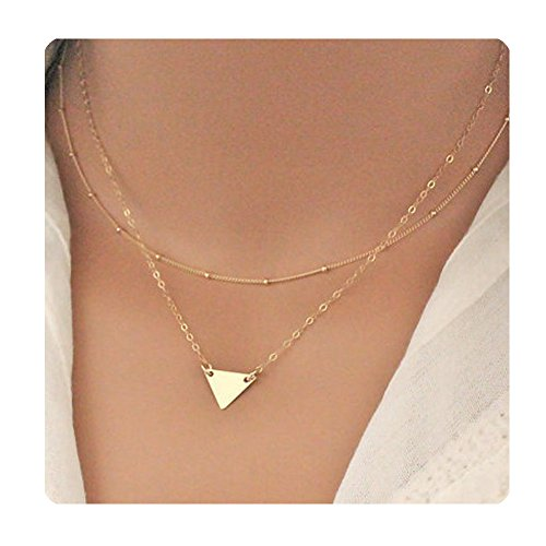 Chain Triangle Necklace - Gudukt Gold Triangle Pendant Necklace Double Layers for Women
