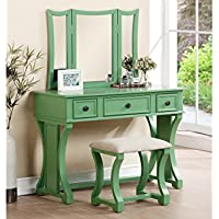 Apple Green Vanity Table with 3-panel Mirror and Cushioned Stool