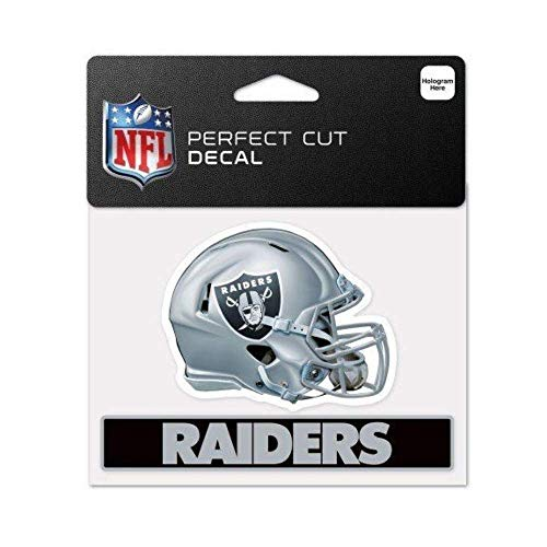 Bek Brands Licensed Professional Football Teams 4 x 5 Cling Decal for Cars, Windows and More, Helmet (Oakland Raiders)