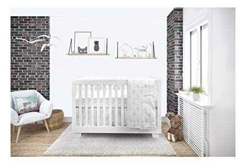 BOOBEYEH & DESIGN Baby Crib Bedding 4 Piece Set, Silver Gray Arrow Design, Includes Fitted Sheet, Crib Comforter, Comforter Cover, Skirt, Perfect for Baby Girls and Boys