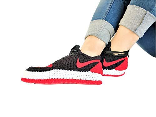 c43fb4bf64d Crochet Air Jordan 1 Retro Basketball Flyknit Sneaker Custom Jumpman Knitting  Slippers BRED TOE