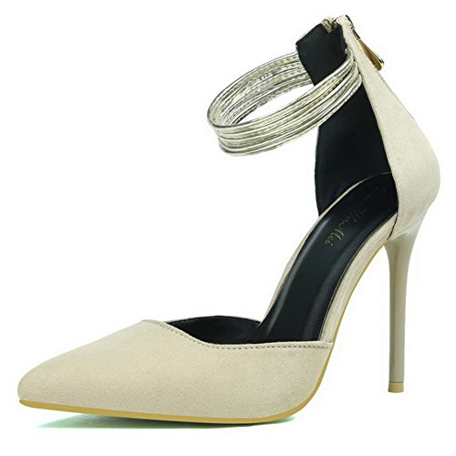 Woman Solid Stiletto Heel Pointed Beige Zipper Heel Aalardom Living Heel qwO7ABxBd