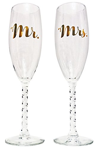 NDear Mr. and Mrs. Glass Champagne Flutes with Golden Font - Set of Two - Holds 6 Ounces - Perfect for Wedding Receptions - Great as an Anniversary Gift