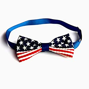 S-Lifeeling Fashion American National Flag Dog Bow Tie Pet Collar Perfect for Party Accessories.