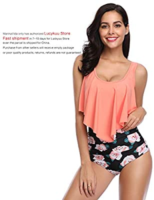 MARINAVIDA Swimsuit for Women Two Pieces Bathing Suits Top Ruffled Racerback with High Waisted Bottom Tankini Set