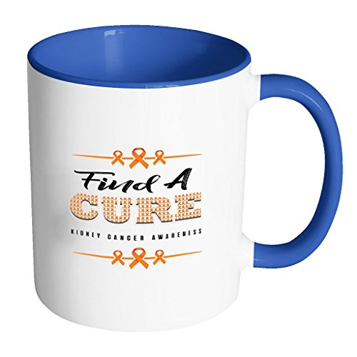 Find A CURE Orange Ribbon Kidney Cancer Awareness 11oz Accent Coffee Mug(7 Colors)