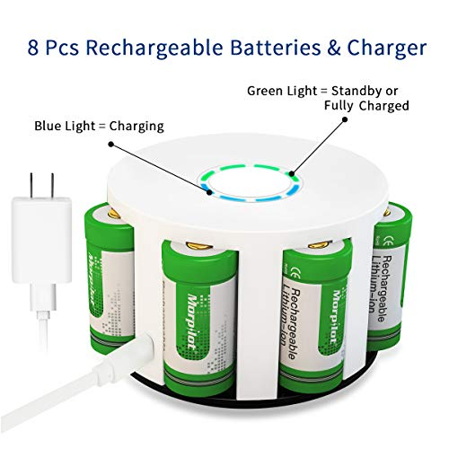 Morpilot RCR123A Rechargeable Batteries and Charger 8Pcs 3.7V 700mAh Li-ion Battery with 8 Slot Charger for Arlo VMC3030/3230/3330/3430/3530 Security Cameras