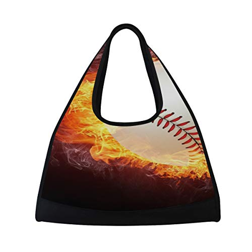 7e997881e9d9 Galleon - HUVATT Gym Bag Fire Baseball Women Yoga Canvas Duffel Bag Sports  Tote Bags For Girls