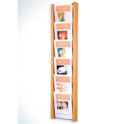 DMD Magazine Rack, Literature Wall Display, 6 Pocket Solid Oak and Acrylic, Light Oak Wood Finish
