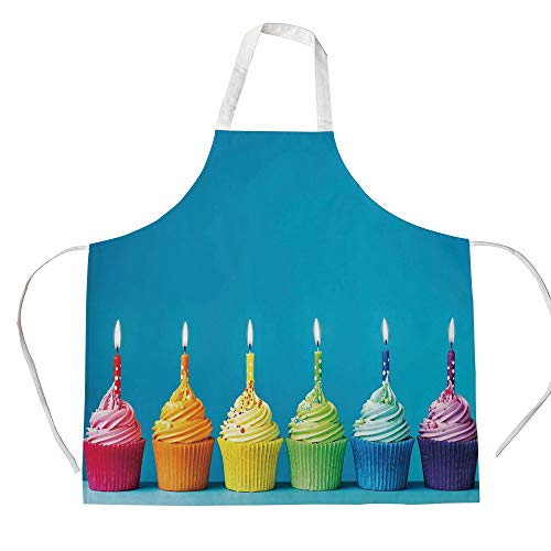 (Birthday Decorations 3D Printed Cotton Linen Apron,Cupcakes in Rainbow Colors with Candles Fun Homemade Party Food Sweet,for Cooking Baking)