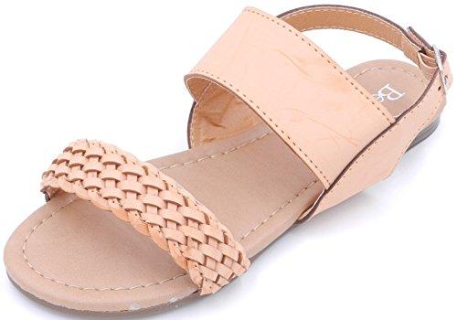 Dernière Fasion Filles Enfants Croix Sangle Tressée Plat Bride Arrière Sandale Chaussures Camel