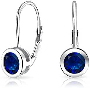 925 Silver Round Simulated Sapphire Bezel Set Drop Earrings