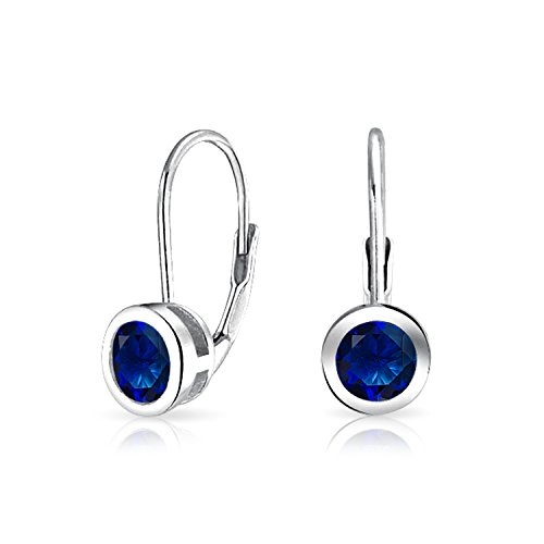 Bling Jewelry 925 Silver Round Simulated Sapphire Bezel Set Drop - Set Earrings Bezel Drop