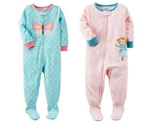 Monkey Sleep Sets - Carter's Baby Toddler Girl's 2 Pack Fleece Footed Pajama Sleep and Play Set (Zipper Closure - Blue Butterfly and Pink Monkey, 24 Months)