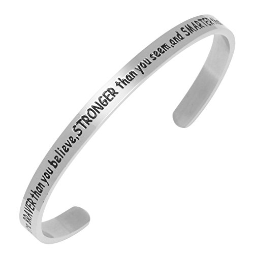 Sunflower Jewellery Cuff Bracelet You are Braver Than You Believe Stronger Than You Seem and Smarter Than You Think for boy Girls(Silver)