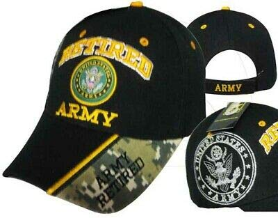 Embroidered Emblems - Ant Enterprises US Army Retired Emblem Black & Digital Camo Shadow Embroidered Cap Hat