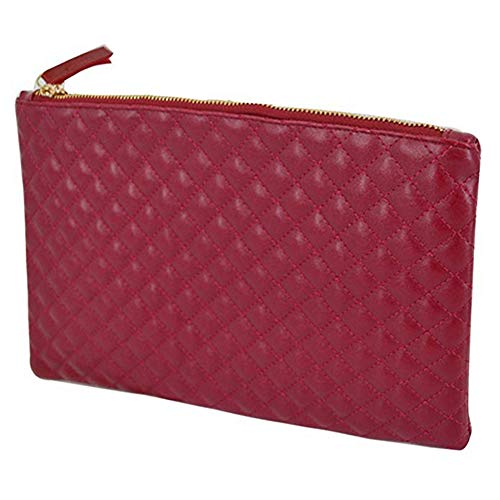 ZJFZML Red Clutch Purses for Women Evening Envenlope Clutches Handbag Zipper Closure on Top Bridal Purse Party Bags for Prom Large Diamond Pattern Quilted Leather Handbag Wallet (Red)