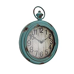 Timeless by Design Metal Wall Clocks Large Weathered Finish Round Pocket Watch Style Wall Clock