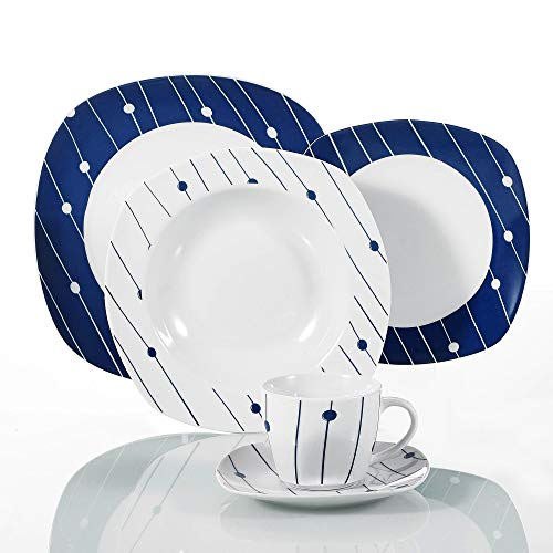 (VEWEET 30-Piece Porcelain Square Tableware Decal Patterns White Bowl Set with Dinner, Soup Dessert Plate, Saucer and Mug, Service for 6 (DOT Series))