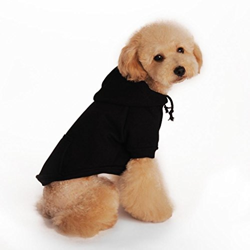 Namsan Autumn and Winter Cotton Warm Casual Coats with Hoodie for Puppy Doggie Dog Clothes - Black (Doggy Clothes)