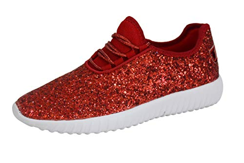 ROXY-ROSE Women's Glitter Tennis Sparkly Sneaker Red Silver White Black Stylish Shoes(6 B(M) US, Red) Adult Ruby Red Slippers