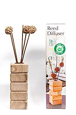 Reed Diffuser decorative vase for your home and office made from natural walnut tree with 100% French Perfume …