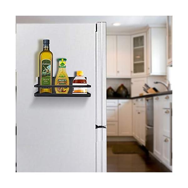 OIZEN Kühlschrank Regal Hängeregal für Kühlschrank Magnet Gewürzregal mit Ablage Küchenregal Küchen Organizer…