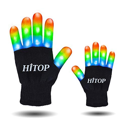 HITOP Led Party Gloves, Kids Finger Flashing Light Up Gloves Christmas Costume Glow Toys for Boys and Girls, Christmas Birthday Gift Party Favor (White&Black, Kids)