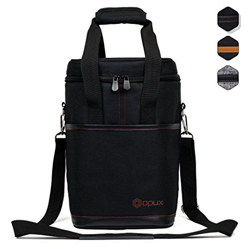Premium Insulated Wine Bag by OPUX | Elegant Wine Carrying Tote, Extra Protection, Convenient, Durable Wine Bottle Carrier (4 Bottle, (Bottle Leather Wine Carrier)