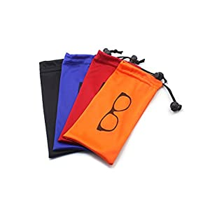 (4 PCS) Drawstring Microfiber Soft Eyeglasses Storage Pouch With Bead Lock (BLACK/BLUE/ORANGE/RED)
