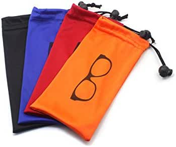 (4 PCS) Drawstring Microfiber Soft Eyeglasses Pouch With Bead Lock (BLACK/BLUE/ORANGE/RED)