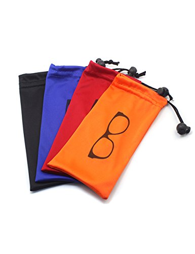 (4 PCS) Drawstring Microfiber Soft Eyeglasses Storage Pouch With Bead Lock (Microfiber Sunglass Case)
