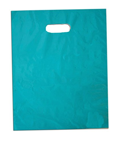 50 12x15 Glossy Teal Blue Plastic Merchandise Bags (Colored Plastic Bags)