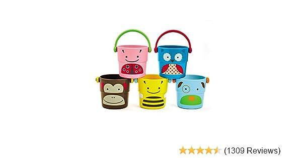 New Bath cups buckets bath toys 3 pcs set many colours 9m