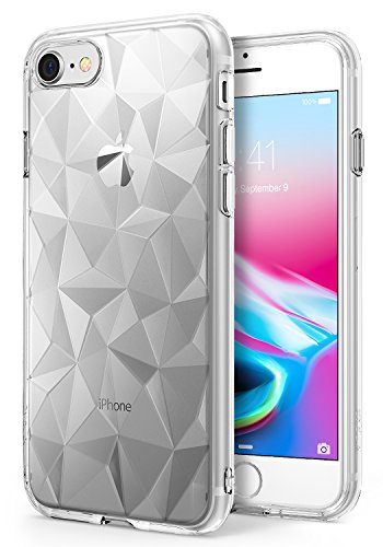 iPhone 7 / iPhone 8 Case, Ringke [AIR PRISM] 3D Vogue Design Chic Ultra Rad Pyramid Stylish Diamond Pattern Flexible Jewel-Like Textured Protective TPU Drop Resistant Cover For Apple iPhone 7 – Clear - Tpu Diamond Pattern