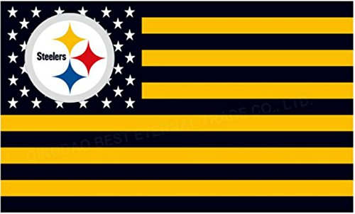 NFL Pittsburgh Steelers Stars and Stripes Flag Banner - 3X5 FT - USA FLAG