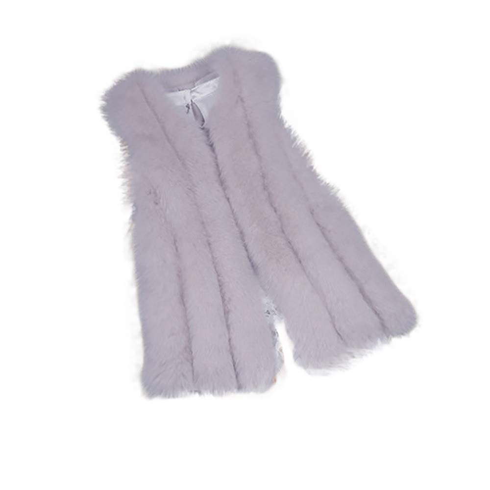 ThePass Women Warm Waistcoat Vest Coat Faux Fur Fashion Jacket Outwear Cardigan