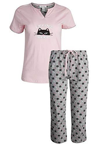 Rene Rofe Women's Sleepwear Capri Pants with Short Sleeve Top Pajama Set, Feline Good, Size X-Large'